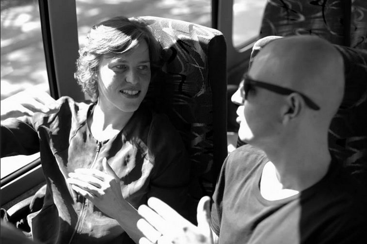 Barbara ao lado de Roberto Martini, CEO da Flag e sócio  da Mesa