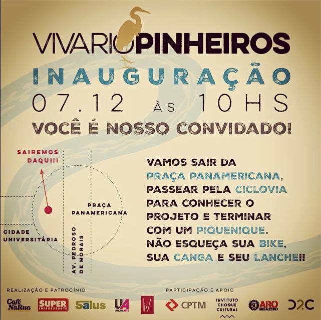 Pedalada, piquenique, passeio pelas intervenções artísticas: Occupy Rio Pinheiros!