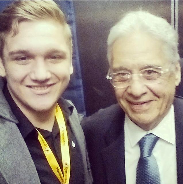 Com Fernando Henrique, no evento de tecnologia Symantec Vision, no mês passado.