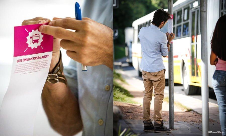 """Os adesivos """"Que Ônibus Passa Aqui?"""" consistia em colar adesivos com a pergunta e espaço para a resposta em pontos de ônibus."""