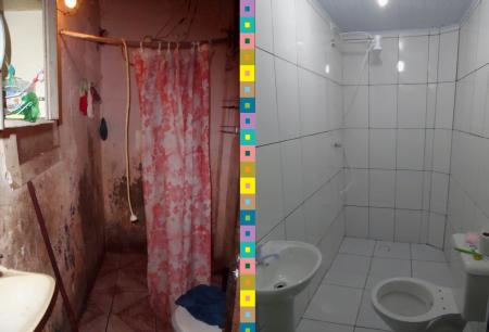 """Exemplo """"antes-e-depois"""" de uma reforma de banheiro, um dos produtos oferecidos pela Vivenda."""