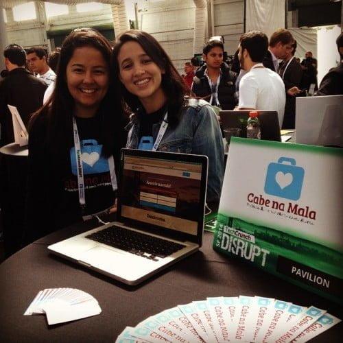 Marcela e Ana Paula na rotina de viagens para aprender e expor a startup. Aqui, no Tech Crunch Disrupt, em São Francisco no ano passado.