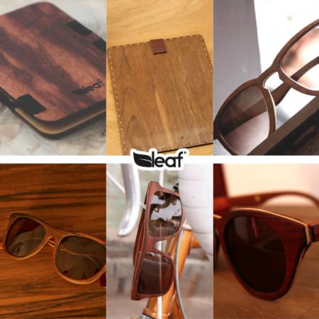 Além dos óculos, a Leaf também faz alguns acessórios de madeira.