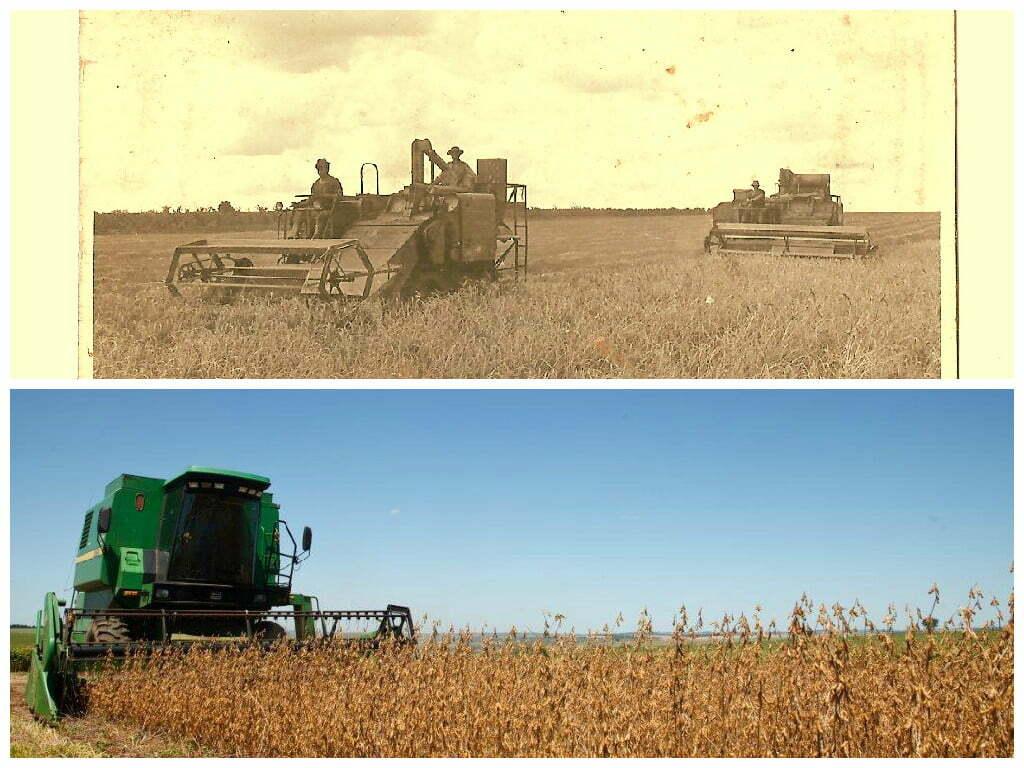 Colheita da família Bartz nos anos 1970 e plantio direto hoje: tecnica firmou âncora na cooperação tecnológica e na troca de experiências entre todos os elos da cadeia agrícola