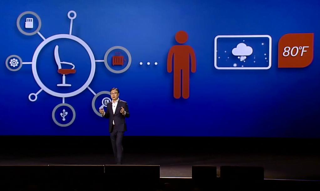 BK Yoon, CEO da Samsung, apresenta a visão de IoT da empresa no CES em Las Vegas.