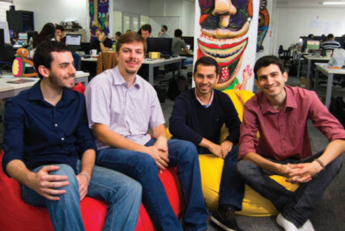 Os sócios da Resultados Digitais no escritório, em Florianópolis: sem divisórias.