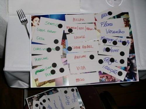 Elementos à mesa, num jantar do Studio Ideias durante um dos processos de pesquisa