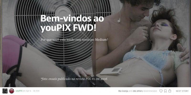 Página de boas vindas de Bia (e do youPIX) no Medium, com uma foto usada na revistinha PIX.