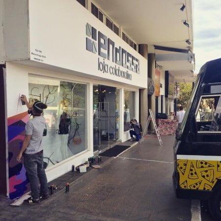 Fachada da Endossa em Brasília, no momento em que recebia uma intervenção artística.