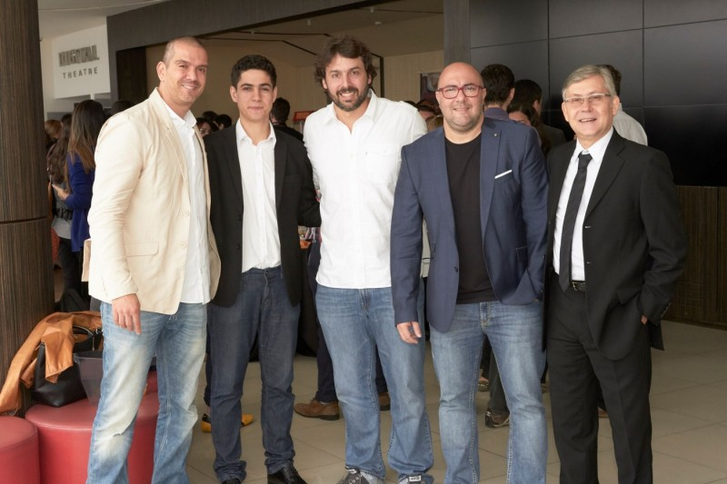 Paulo Castro, VP de criação da Agência3, Diego Callegario, da Invent, Roni Cunha, da Aceleradora Orgânica, Eduardo Barbato, e Clovis Speroni, da Agência3 no evento de lançamento do Hackerspace3, no Rio.