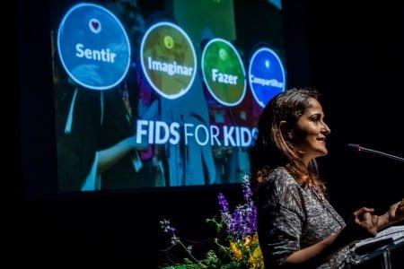 Kiran fala no encontro do Escolas Transformadoras, em São Paulo (foto: Rodolfo Goud).