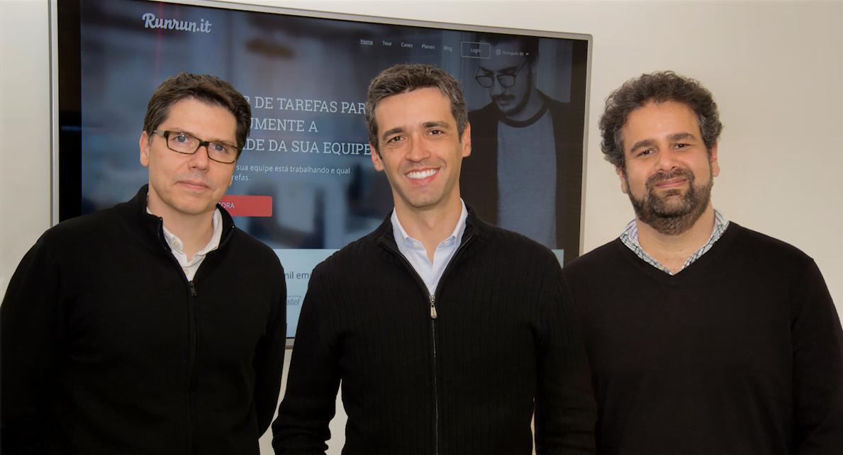 Da esquerda para direita: Franklin Valadares, Antonio Carlos Soares e Patrick Lisbona, fundadores da Runrun.it