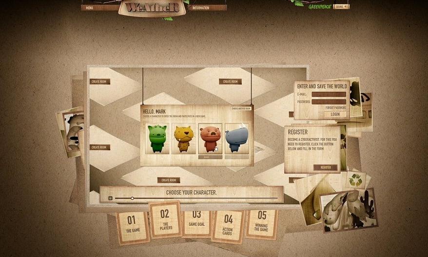 Imagem do premiado jogo online, desenvolvido pela Colmeia para o Greenpeace, no qua era preciso colaboração global para salvar o planeta.