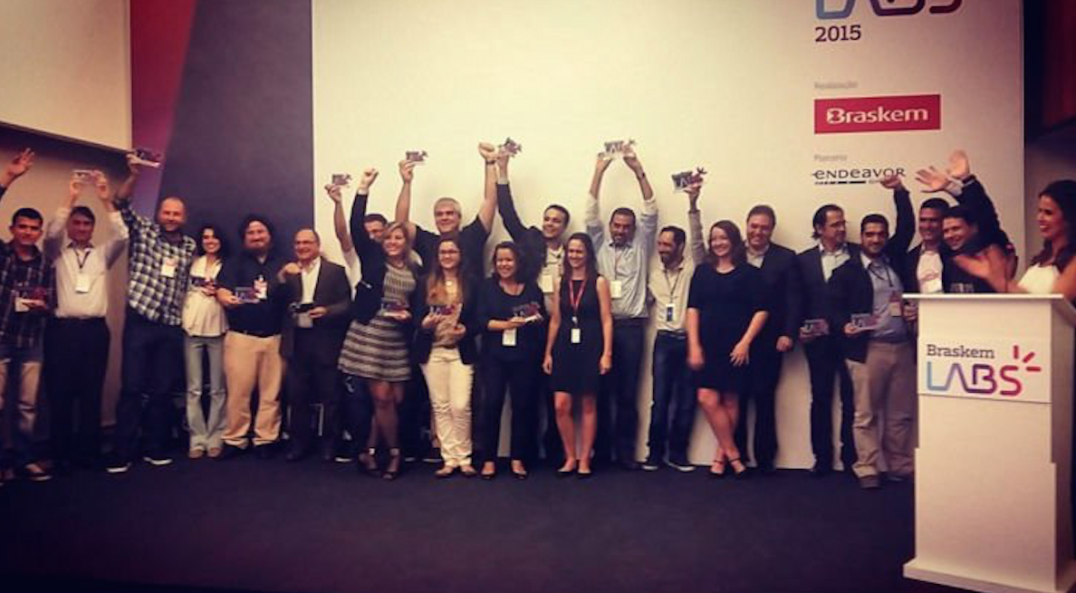 Acima, um registro dos vencedores do primeiro programa de Venture Capital da Braskem, o Braskem Labs.