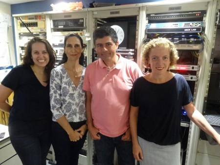 Com seus parceiros de rádio: Maiara Bastianello, Silvania Alves e Thays Freitas, da da Rádio Bandeirantes (foto Felipe Garaffa).