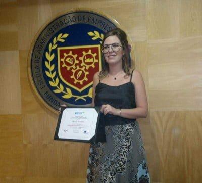 Melina na formatura do Prêmio FGV Goldman Sachs 10000 Mulheres Empreendedoras, em 2013.