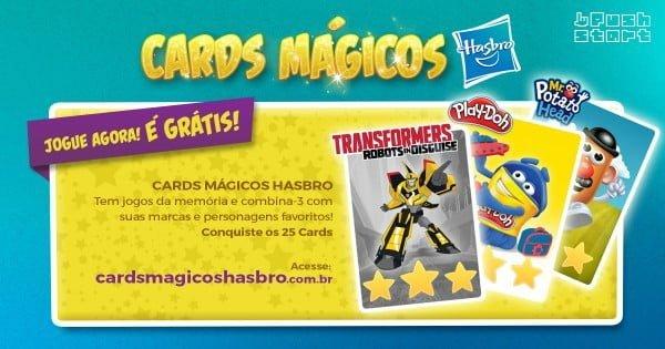 """Criado para a Hasbro, os """"Cards Mágicos"""" ajudavam a integrar as diferentes marcas da empresa."""