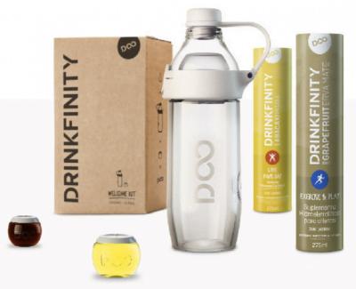 O kit de boas-vindas de Drinkfinity inclui a garrafinha e os primeiros carregamentos de cápsulas. Custa 90 reais.