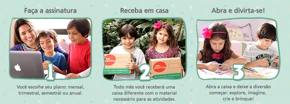 O Box Joanninha consiste em enviar caixas com materiais para que as crianças criem e montem seus brinquedos.