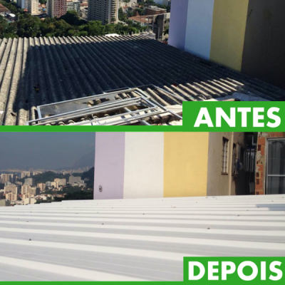 Legendas: O objetivo da Favelar é tornar as moradias de comunidades mais salubres e agradáveis com conceitos da arquitetura sustentável. Aqui, um telhado de amianto (material cancerígeno e já proibido no Brasil para telhas) foi substituído.