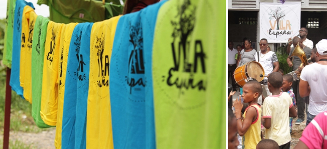 Vila Espanha, bairro de Bogotá formado por refugiados, fazendo uso de sua marca.