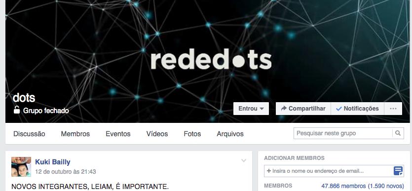 A rede dots é um grupo fechado no Facebook, com 47 mil integrantes e crescendo. Kuki está lá quase 24 horas por dia, moderando e garantindo que o propósito de cooperação mútua se mantenha.