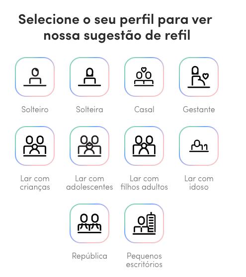 """Na plataforma há listas pré-prontas de """"refil"""" para o cliente escolher. A ideia é comprar só o que é de fato necessário."""