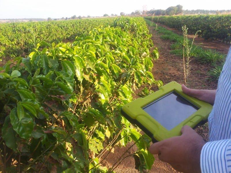 Monitoramento de plantação de café com o Strider Crop Protection.