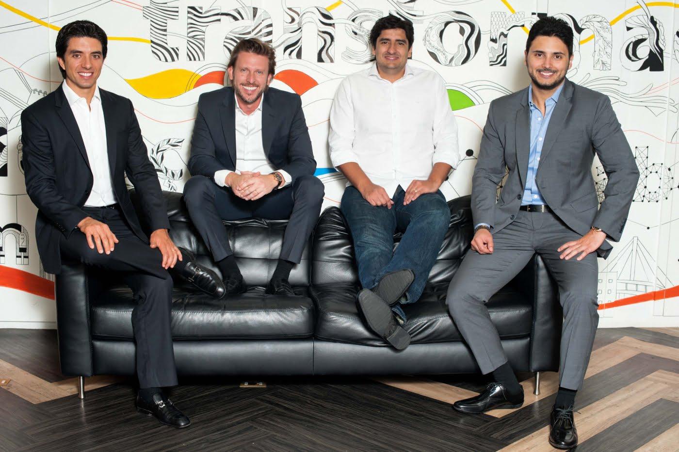 Os sócios da Zup na sede da startup, a partir da esq.: Felipe Almeida, Flavio Zago, Bruno Pierobon e Gustavo Debs.
