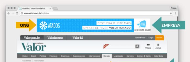 Trecho de uma apresentação da Calhau mostra como o banner das ONGs (como a Atados) com a assinatura das empresas parceiras aparece no site de veículo parceiro (aqui, o Valor Econômico).