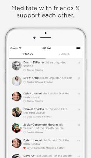 Na tela do app, espaço para encontrar e encorajar amigos.