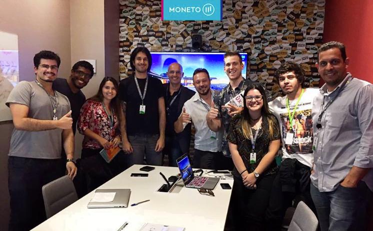 Parte do time da Moneto com Ryan Warrender, especialista Google em sites e aplicativos, no Google Campus, em São Paulo.