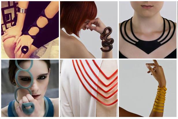 Flavia Amadeu estudou wearable techonologies, e acabou aplicando o conceito às joias de borracha que cria.