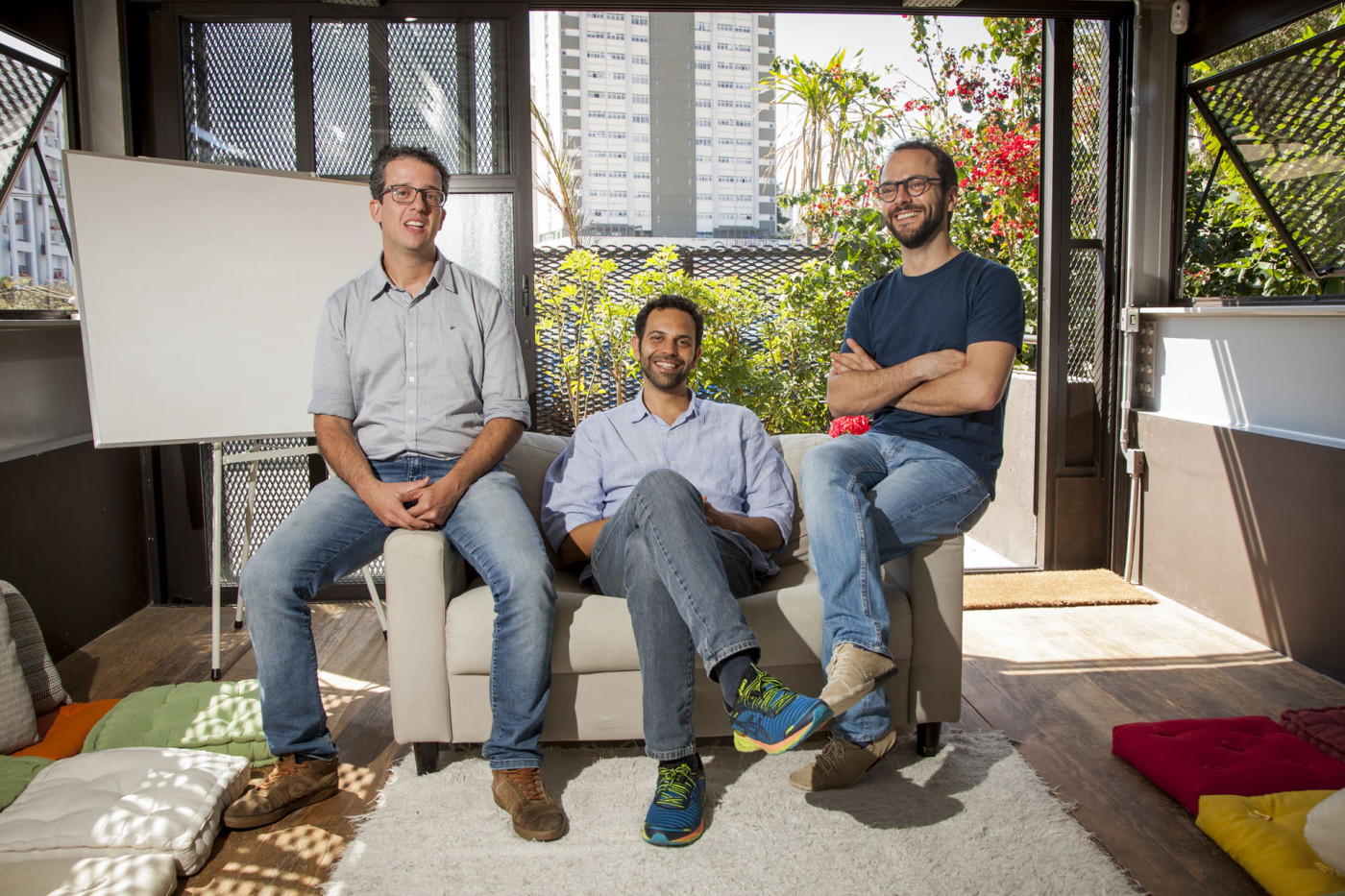 Diogo Vallim, Fernando Assad e Mateus Mendonça, da Giral. Com o tempo, a empresa se moldou a novas exigências do mercado — e ao amadurecimento da relação entre os sócios.