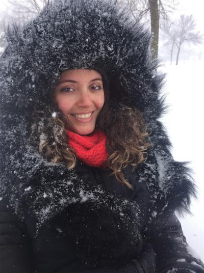 E o inverno não é pouco. Acima, Renata no parque Père-Marquette, em Montréal.