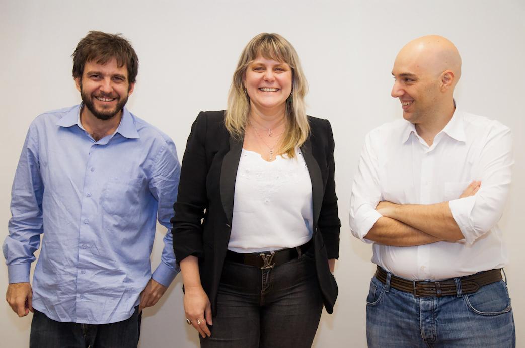 Os fundadores da Geru: Tomás Corrêa, Karin Thiess e Sandro Reiss.