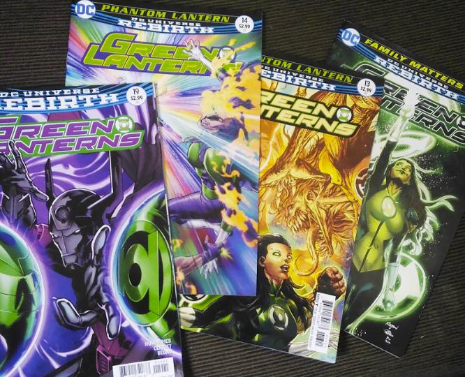 Algumas das edições do Lanterna Verde produzidas por Ronan Cliquet.