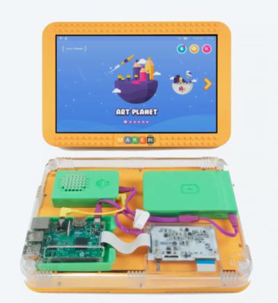 O produto da MakePi é este acima: o MakePad, um tablete que a criança monta e programa.