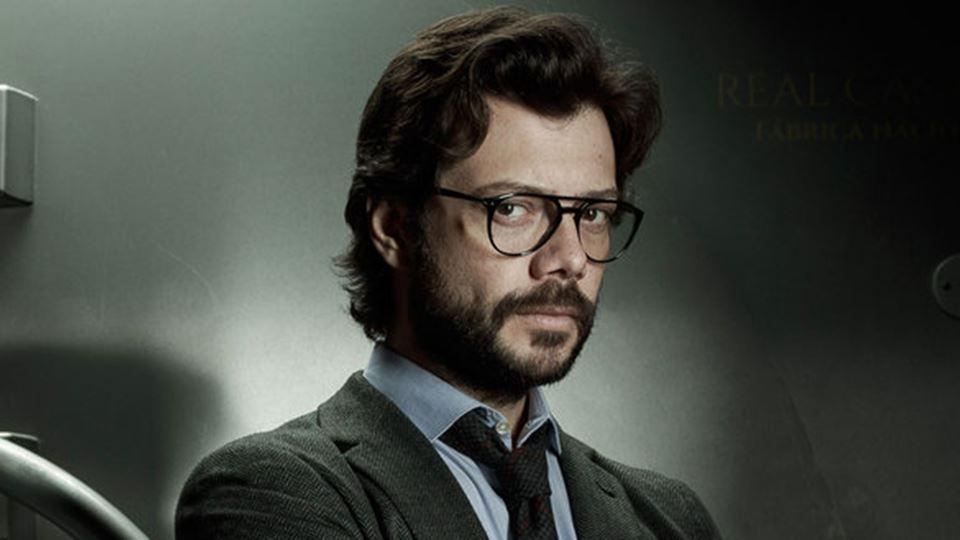 El profesor, da série La Casa de Papel, da Netflix: um exemplo de líder precavido, capaz de antecipar quase todos os imprevistos (Imagem: Internet/Reprodução).