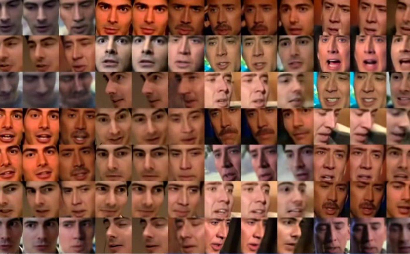 A Deepfake usa alta tecnologia para adulterar vídeos com perfeição. O uso pode ser incriminatório ou difamatório, mas também serve para humor, como as montagens inserindo o rosto do ator Nicolas Cage em filmes que não fez (Imagem: screenshot do FakeApp).