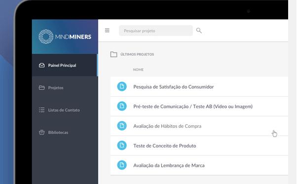 Pela plataforma da MindMiners, os clientes podem construir suas próprias pesquisas, usar modelos de questionários prontos ou montar um novo com a assessoria da empresa.