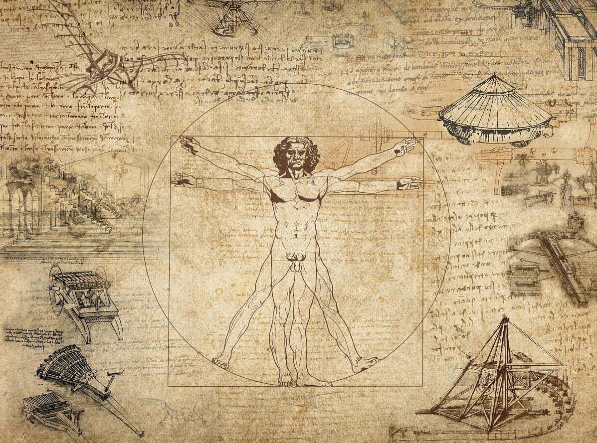 Um dos nomes mais associados à Polimatia é o de Leonardo da Vinci, que desenhou a o Homem Vitruviano, modelo humano de proporções matemáticas perfeitas.