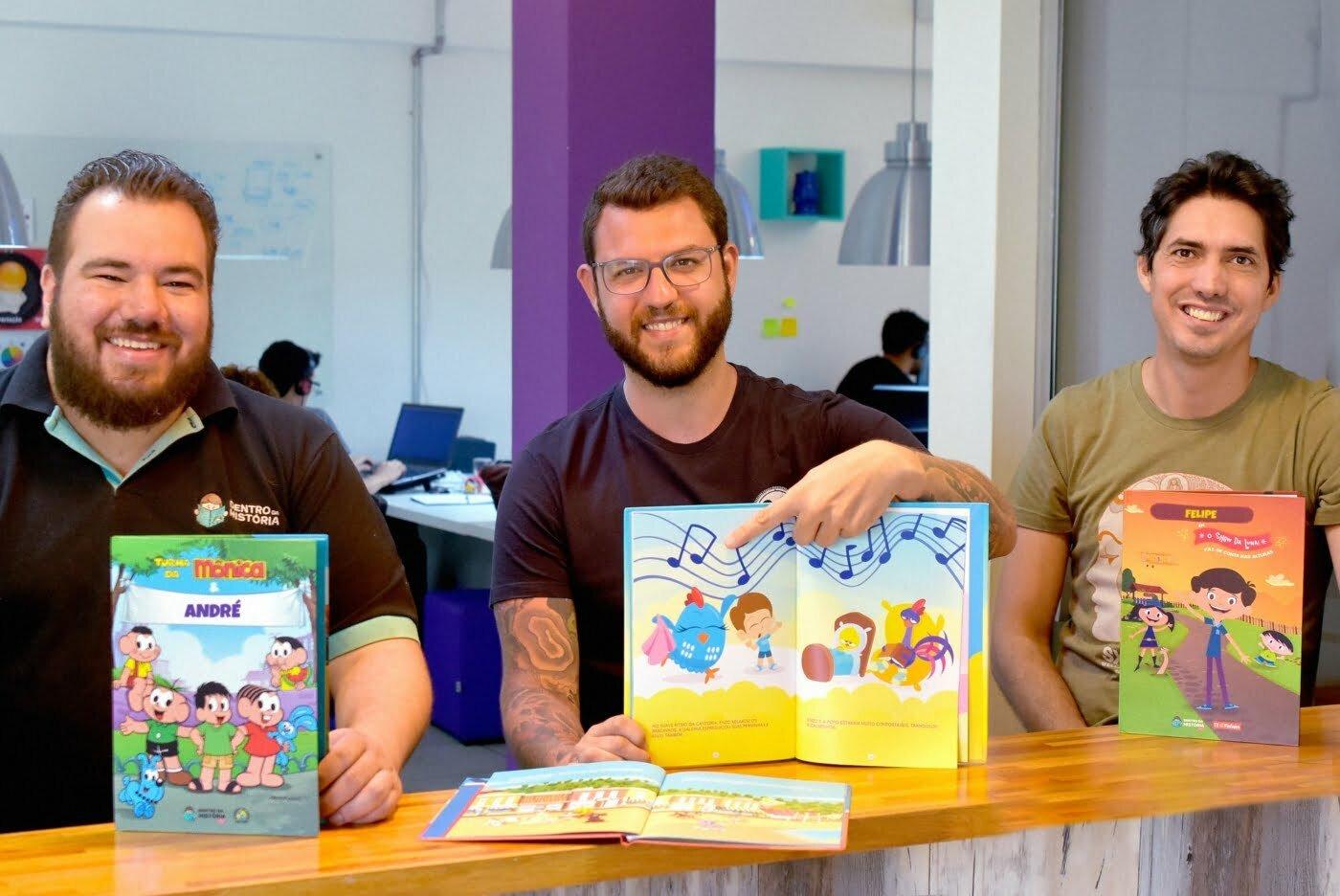 André Campelo, Diego Aguiar e Felipe Paniago querem que as crianças tenham experiências imersivas com a literatura.