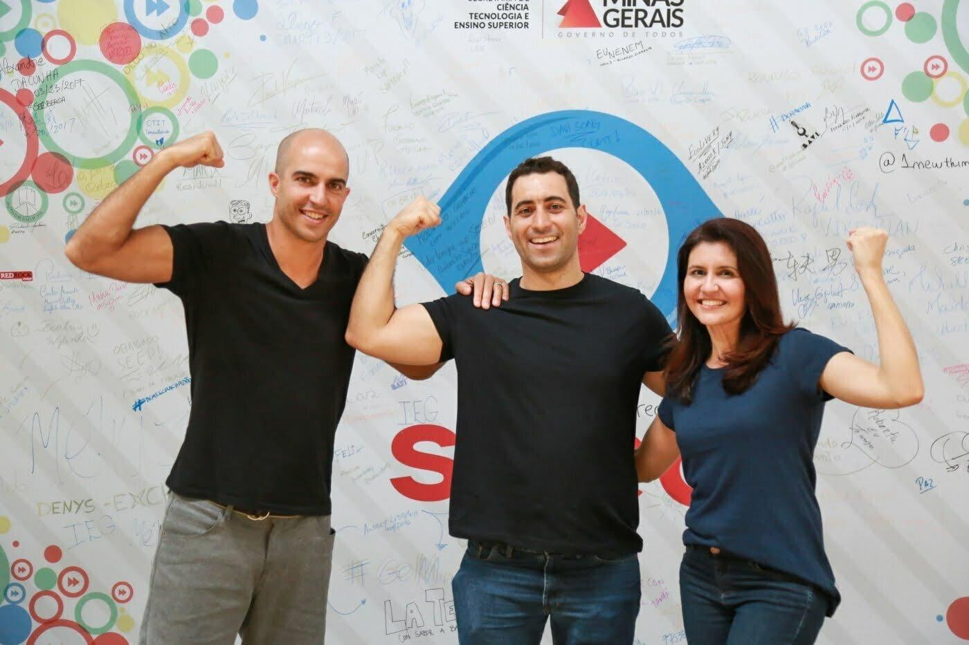 Camilo, Gustavo e Julcele, que levantaram a Pro-Treino no muque. A empresa já anda com as próprias pernas, a meta para fim de 2019 é que dê lucro.