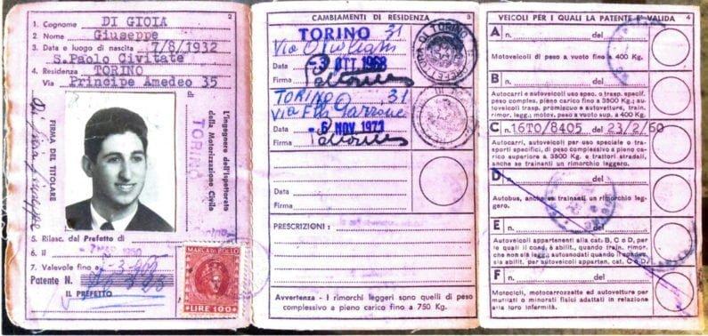 Carteira de motorista de Giuseppe di Gioia