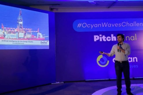Guilherme, da Delfos, no Pitch Day de Ocyan Waves Challenge 2019