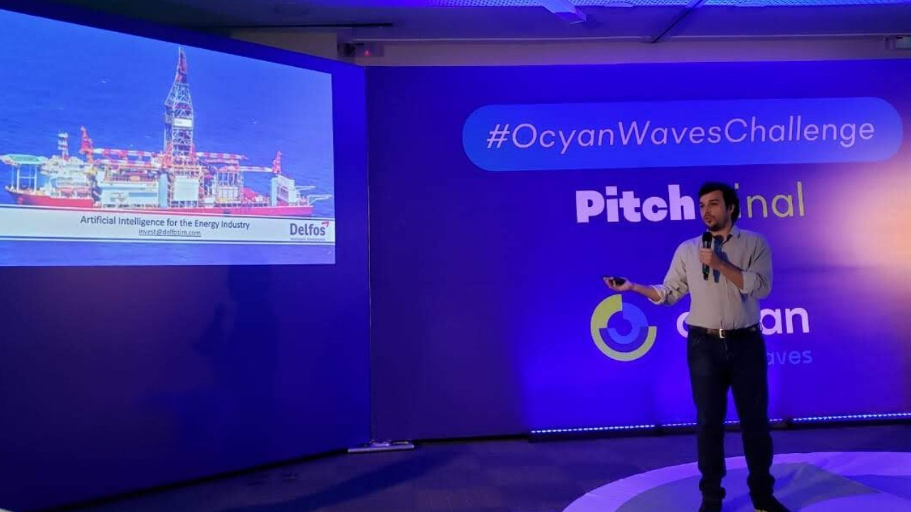 Guilherme, da Delfos, no Pitch Day de Ocyan Waves Challenge 2019