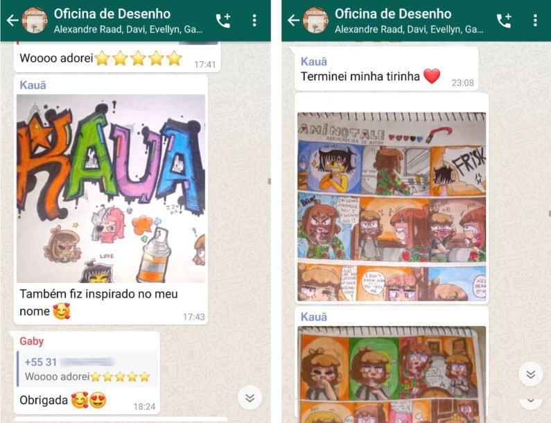 Dois prints de chat do aplicativo WhatsApp com conversas e ilustrações