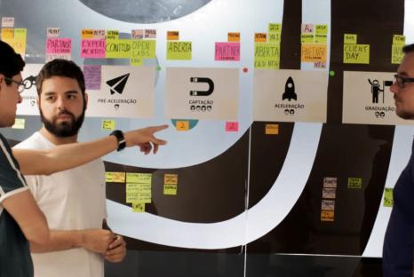 Time de inovação corporativa do CESAR trabalha em desafio de cliente.
