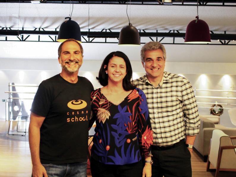 Eduardo Peixoto, Karla Godoy e Fred Arruda em evento do CESAR.